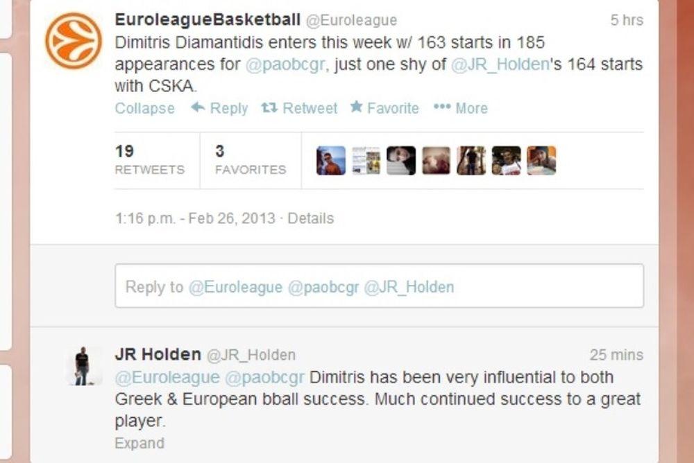 Χόλντεν: «Έμπνευση για το ελληνικό και το ευρωπαϊκό μπάσκετ ο Διαμαντίδης»