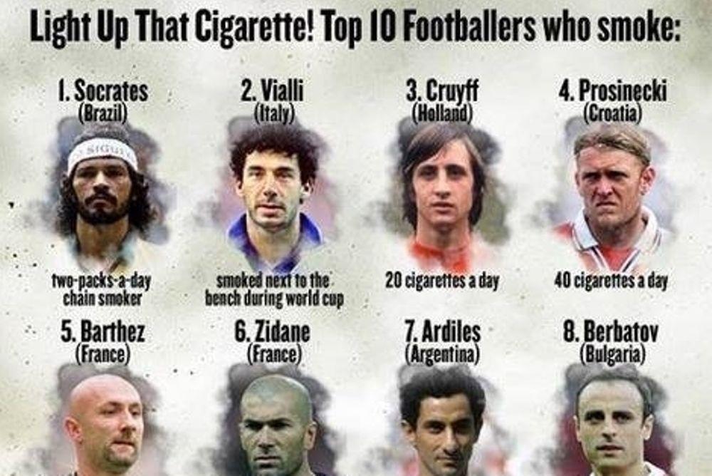 Οι 10 καλύτεροι ποδοσφαιριστές – καπνιστές (photo)