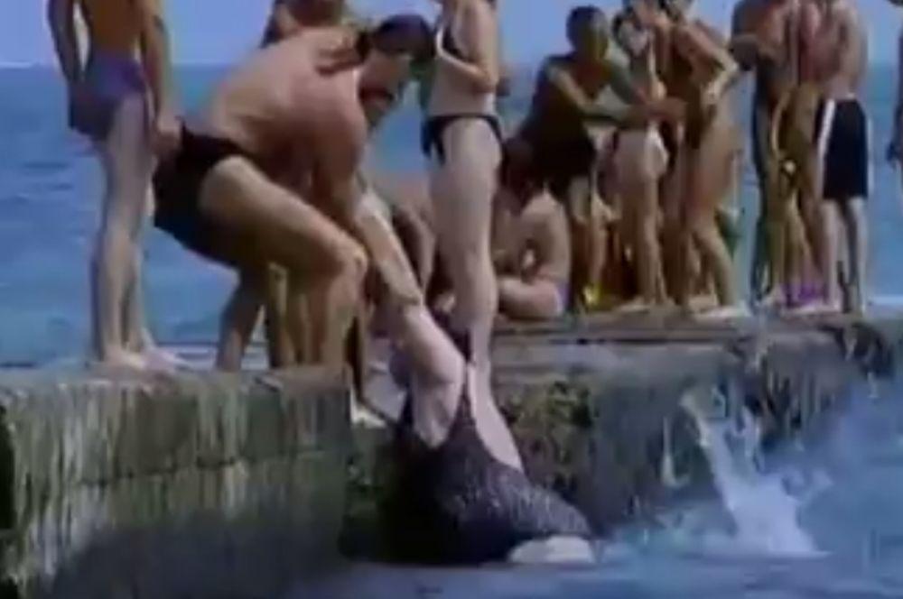 Υπέρβαρη πετάει στη θάλασσα άτομα που τη βοηθούν να βγει έξω! (video)