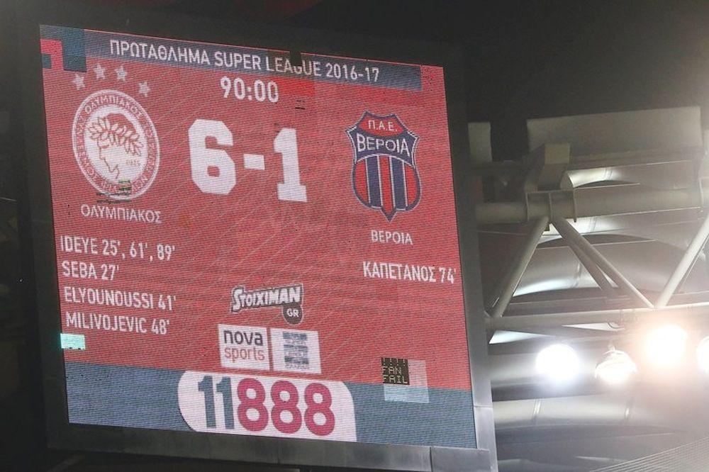 Ολυμπιακός – Βέροια 6-1: Τα γκολ του αγώνα (video)