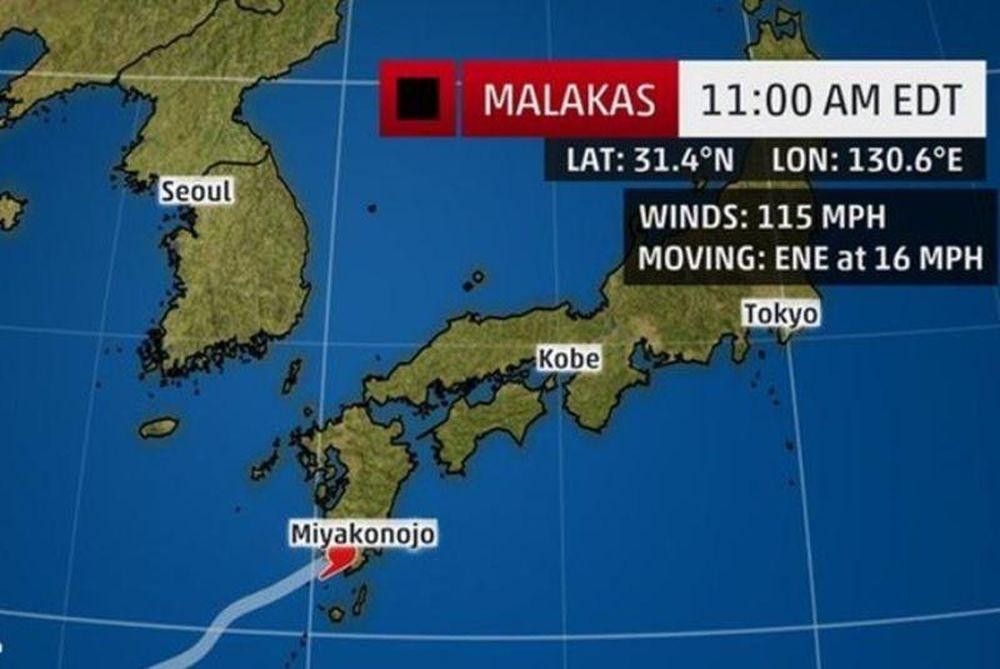 Χτύπησε με ανέμους 160 χιλιομέτρων την Ιαπωνία ο τυφώνας «malakas»