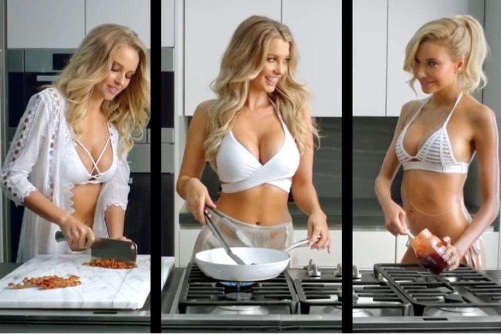 ΚΟΛΑΣΜΕΝΗ διαφήμιση! Φτιάχνουν μπέργκερ με καυτά εσώρουχα στην κουζίνα! (photos+video)