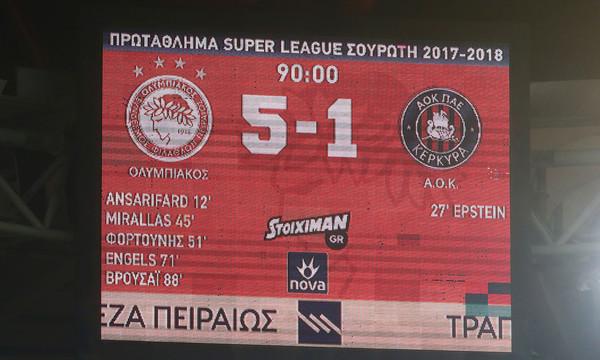 Ολυμπιακός - Κέρκυρα 5-1: Τα γκολ και οι φάσεις του αγώνα (video)