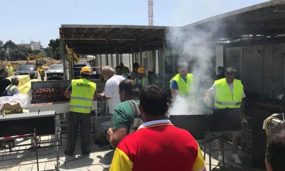 ΑΕΚ: Μπάρμπεκιου στο εργοτάξιο της «Αγιά Σοφιάς