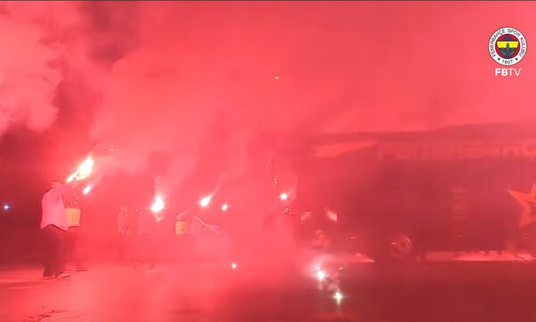 «Φωτιά» στην Πόλη έβαλαν οι οπαδοί της Φενέρ (video)