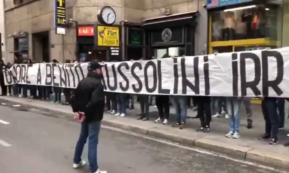 Σάλος στην Ιταλία με το πανό των οπαδών της Λάτσιο για τον Μουσολίνι (video)